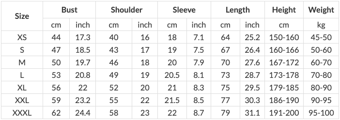 T-shirts-size-guide