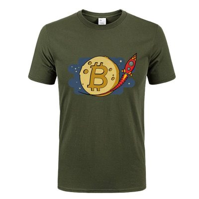 Bitcoin to the Moon rocket army green T-shirt