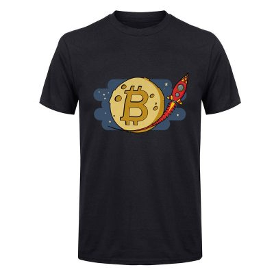 Bitcoin to the Moon rocket black T-shirt