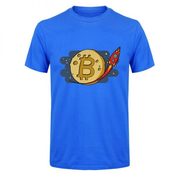 Bitcoin to the Moon rocket blue T-shirt