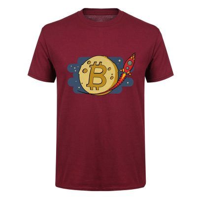 Bitcoin to the Moon rocket burgundy T-shirt