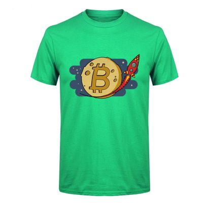 Bitcoin to the Moon rocket green T-shirt