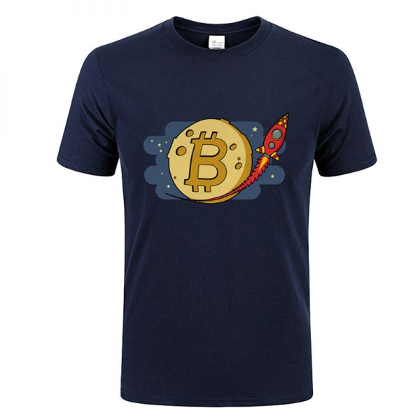 Bitcoin to the Moon rocket navy blue T-shirt