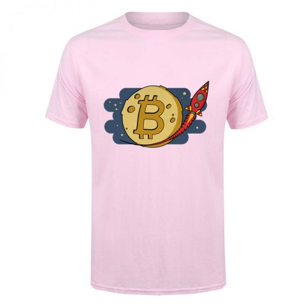 Bitcoin to the Moon rocket pink T-shirt