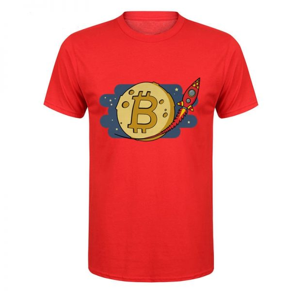 Bitcoin to the Moon rocket red T-shirt
