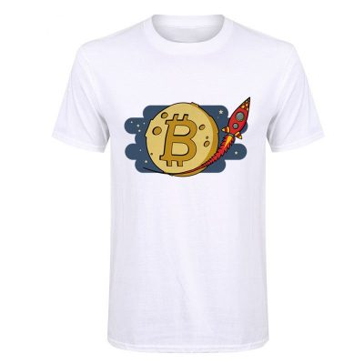 Bitcoin to the Moon rocket white T-shirt
