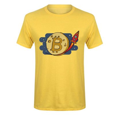 Bitcoin to the Moon rocket yellow T-shirt