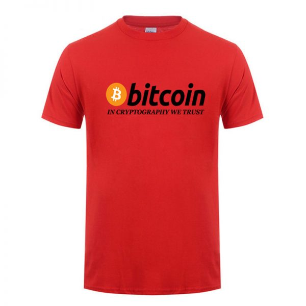 In Cryptography We Trust red T-shirt with black print