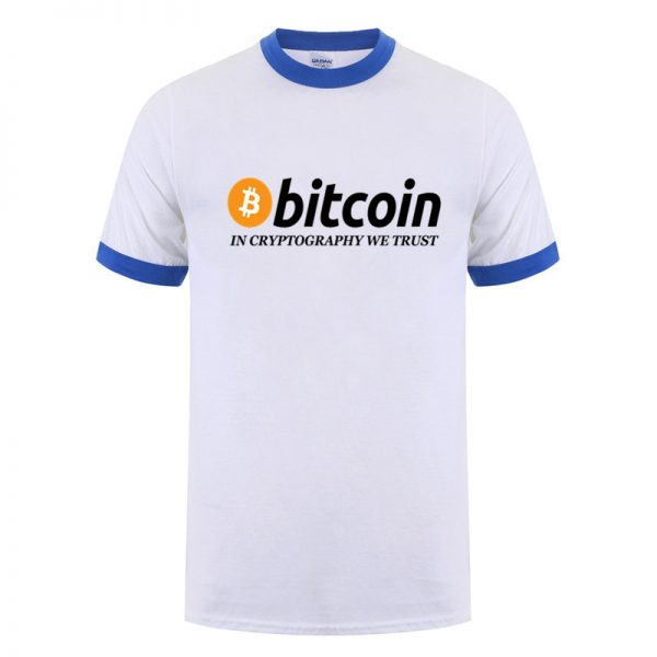 In Cryptography We Trust white blue edges T-shirt with black print