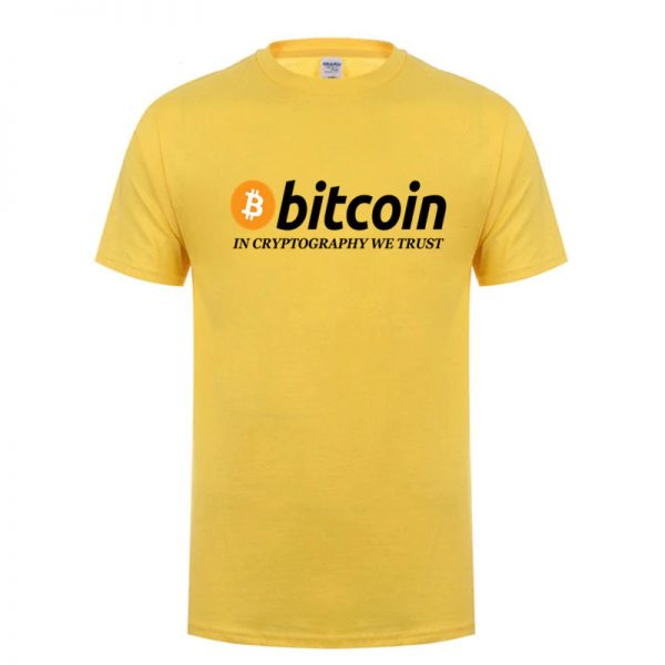 In Cryptography We Trust yellow T-shirt with black print